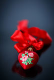 Christmas red hearts with ribbon Royalty Free Stock Photos
