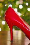 Christmas red high heel shoe Stock Images