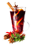 Christmas Red Hot Mulled Wine and spices  close up. Selective fo Royalty Free Stock Photo