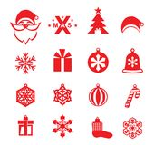 Christmas red icons on white background. Santa, Xmas logo and Christmas decorations. Christmas card vector illustration