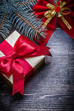 Christmas red knot pine branch present box Royalty Free Stock Image