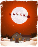 Christmas Red Landscape And Flying Santa. Illustration of a cartoon portrait christmas winter landscape with house, snow, pine trees forest and flying santa Royalty Free Stock Photo