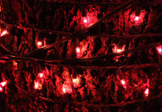 Christmas red lights at night Stock Photos
