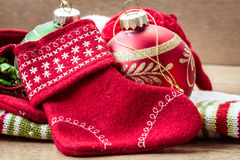 Christmas red little decorative sock and other toys Stock Images