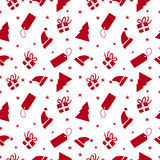 Christmas red ornament doodle seamless pattern Stock Photography