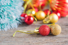 Christmas red ornament (red balls) with decorations. Royalty Free Stock Image