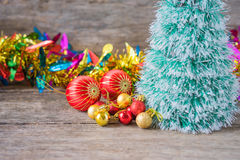 Christmas red ornament (red balls) with decorations. Stock Photo