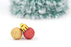 Christmas red ornament (red and gold balls) with decorations. Stock Photography