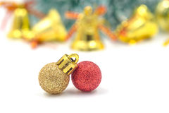 Christmas red ornament (red and gold balls) with decorations. Royalty Free Stock Photos