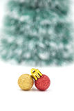 Christmas red ornament (red and gold balls) with decorations. Stock Photos