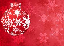 Christmas Red Ornament with Snowflakes Pattern Stock Photography