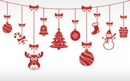 Christmas Red Ornaments Hanging. Merry Christmas Background. Royalty Free Stock Photography
