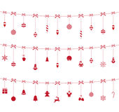 Christmas red ornaments hanging on rope. Christmas toys, snowflakes, Santa Claus, Christmas candy, gingerbread, reindeer on white background Royalty Free Stock Images