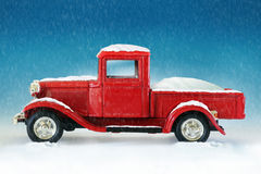 Christmas red pickup truck Royalty Free Stock Images