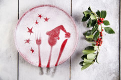 Christmas red plate Stock Photos