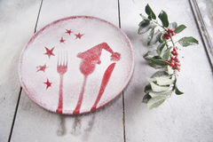 Christmas red plate Royalty Free Stock Images
