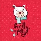 Christmas red polar bear doodle greeting card Stock Image