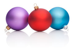 Christmas Red, Purple, Blue Baubles  Stock Image