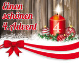 Christmas Red Ribbon Bauble 4 Advent Candle Worn Wood. German text Einen schöne 4 Advent, translate happy second advent Stock Image