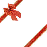 Christmas red ribbon and bow Royalty Free Stock Photos