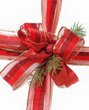 Christmas red ribbon with a bow Stock Photos