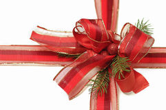 Christmas red ribbon with a bow Stock Photography