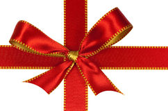 Christmas red  ribbon,isolated on white Stock Photos