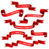 Christmas red ribbons Royalty Free Stock Photos