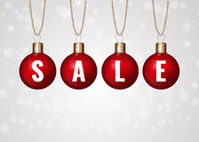 Christmas red sale. Balls on a chain Royalty Free Stock Images