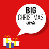 Christmas red sale banner with gift boxes Stock Photography