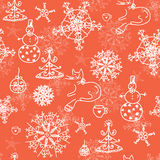 Christmas red seamless pattern with cats. Trees and snow Royalty Free Stock Photography