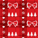 Christmas red seamless pattern with Christmas tree Royalty Free Stock Images