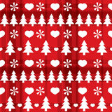 Christmas red seamless pattern with Christmas tree Stock Photo