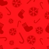 Christmas red Seamless pattern with new year ball, candy, sock Stock Image