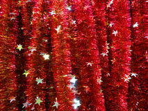 Christmas red silver tinsel. Royalty Free Stock Image