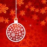 Christmas red snowflake postcard Stock Photography