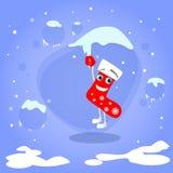 Christmas Red Socks Hang on Icicle Cartoon Royalty Free Stock Image