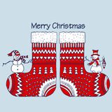 Christmas red socks with snowman. On white background Royalty Free Stock Photos