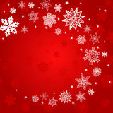 Christmas red square background with red and white snowflakes Royalty Free Stock Image