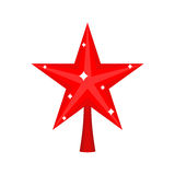 Christmas red Star for tree. decoration for fir-tree isolated. N. Ew year ornament Stock Photos
