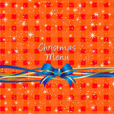 Christmas red table-cloth background, Menu design Stock Images