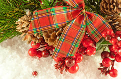 Christmas red tape and branch of berries Royalty Free Stock Images
