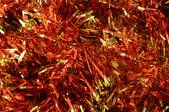 Christmas red tinsel closeup Royalty Free Stock Photos