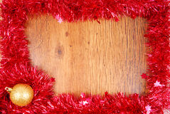 Christmas red tinsel frame border Stock Image
