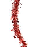 Christmas red tinsel with stars. Royalty Free Stock Images