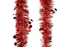 Christmas red tinsel with stars. Stock Image