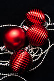 Christmas red toys on black Royalty Free Stock Photography