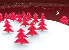 Christmas red tree design Stock Photos