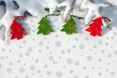 Christmas red tree toys on fir tree Stock Photography