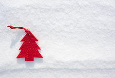 Christmas red tree toys at snow Stock Photography